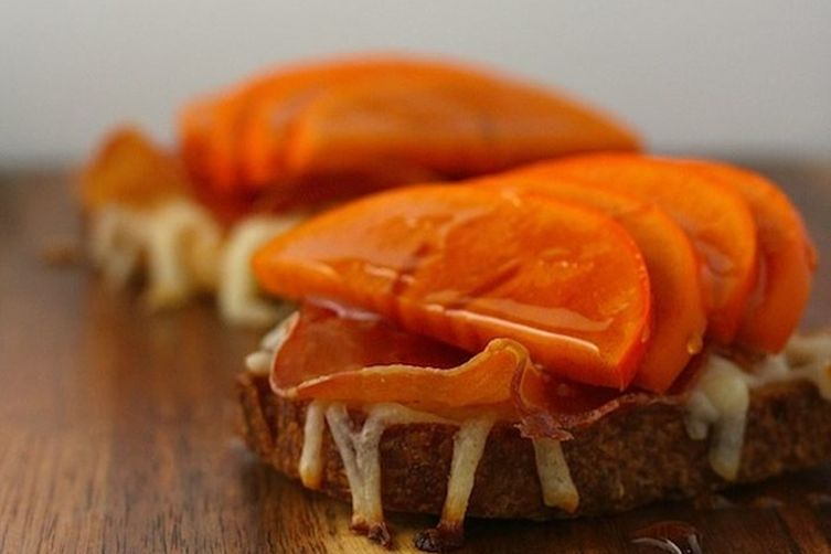 Persimmon and Crispy Bresaola Crostini