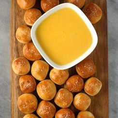Salty Pretzel Bites with Cheddar-Beer Dip