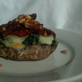 Spinach and Fresh Mozzarella Portabella Mushroom Pizza with Sun Dried Tomatoes