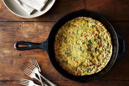 Baked Onion-Walnut Frittata + Caesar-Style Kale Salad