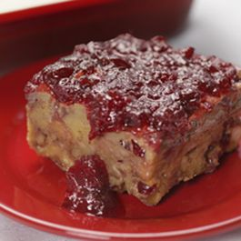 Cranberry Bread Pudding with Cranberry Compote