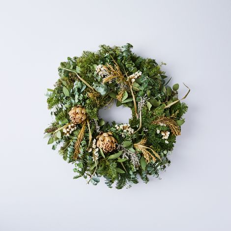 Winter Artichoke, Fir & Eucalyptus Wreath