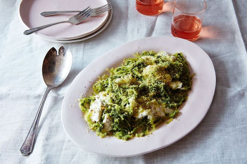 Spaghetti Squash with Kale Pesto and Burrata