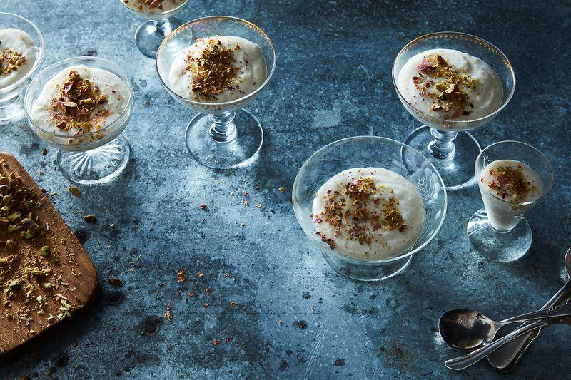 Pakistani Firni (Ground Rice Pudding with Cardamom, Saffron & Rose Water)