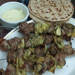 Lamb & Artichoke Kebabs with Minted Lemon Aioli
