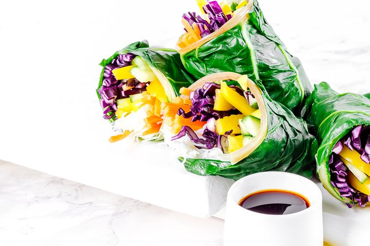 Asian Style Rainbow Chard Wraps