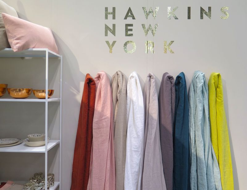 Stone-washed linens from Hawkins are a little bit Morris Louis, a lot gorgeous.