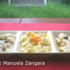 Ricotta gnocchi with 3 sauces