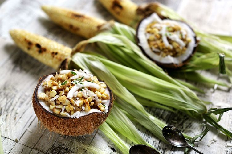 Corn & Coconut Thai street food dessert