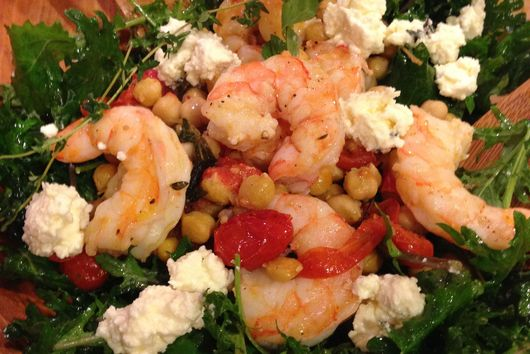 Kale and Persian Feta Salad with Roasted Shrimp