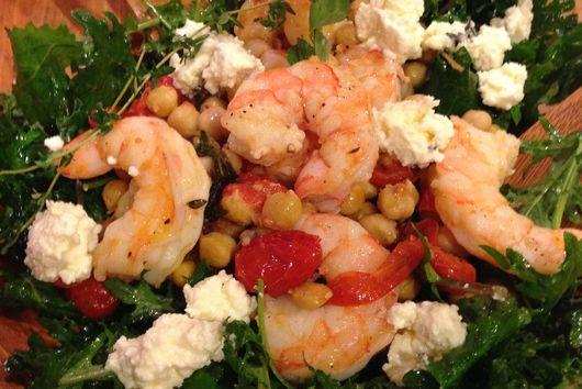 Kale and Persian Feta Salad with Roasted Shrimp