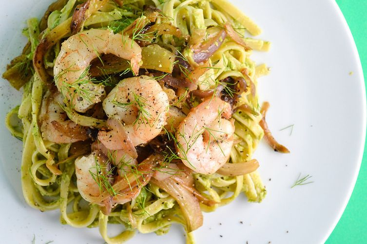 Shrimp and Fennel Pasta with Asparagus Pesto