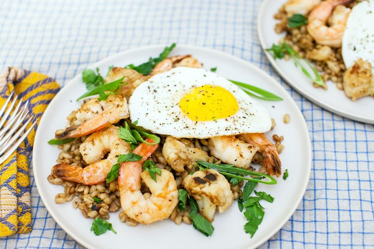 Spicy Shrimp, Cauliflower, and Barley Stir-Fry