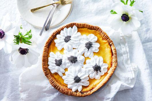 Lemon Mascarpone Pie With Meringue Anemones
