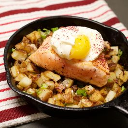 Sumac Dusted Salmon, Poached Egg, and Garlic Scape Potato Hash
