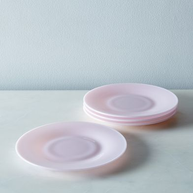 Pink Glass Dinner & Cake Plates (Set of 4)