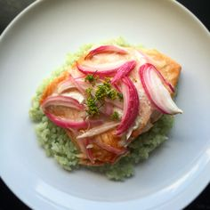 Shallot Topped Salmon & Jade Rice
