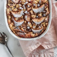 Apple & Hazelnut Bread Pudding with Warm Maple Sauce