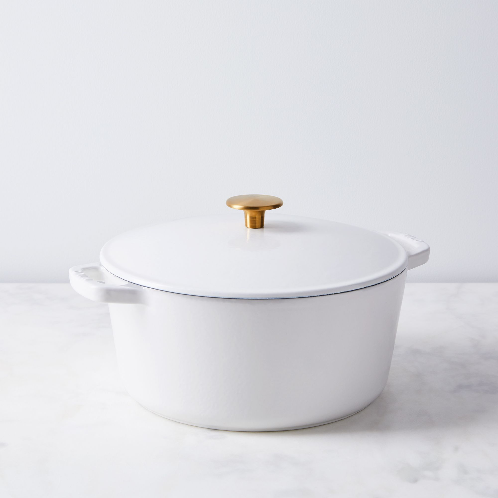 Milo Food52 x Milo Cast Iron Cookware - Food52 White & Brass , Dutch Oven, 5.5QT