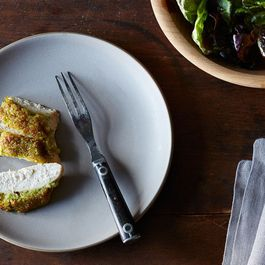 Dinner Tonight: Scallion Pesto-Crusted Chicken + Brown Butter Raspberries