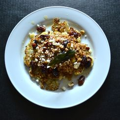 Warm cauliflower, grape and farro salad with apple cider vinaigrette