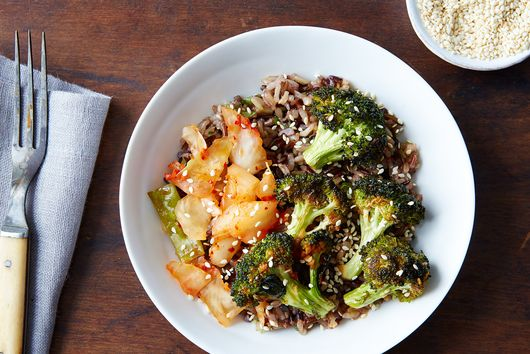 Warm Kimchi Rice Bowl with Sriracha Broccoli