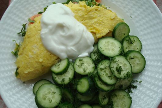 Ramp and Smoked Salmon Omelette with Goat-Milk Yogurt