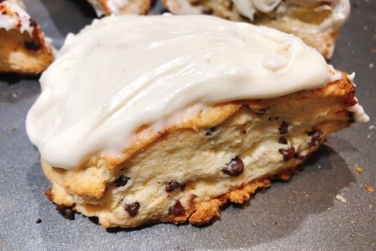 Chocolate Chip Scones With Cream Cheese Frosting