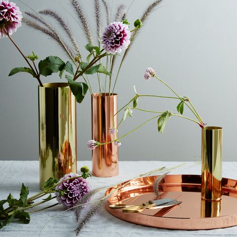 Copper and Brass Louise Vases
