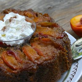 Upside-Down Peach Zucchini Cake