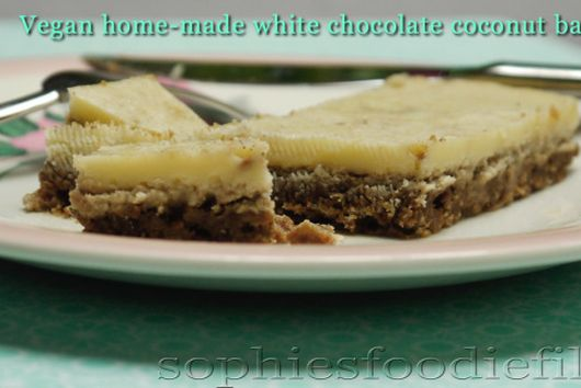 Home-made vegan white chocolate coconut bars