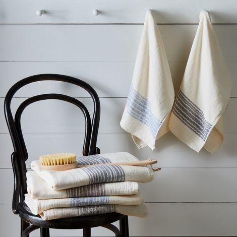 Flax Line Cotton Japanese Bath Towels