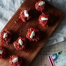 Beet and Carrot Fritterswith Dill and Yogurt Sauce