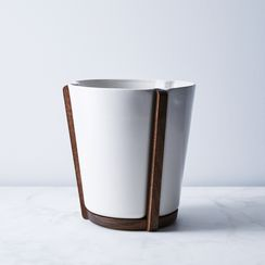 Ceramic & Walnut Base Planter