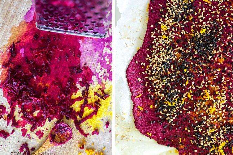 Beet & seed crackers