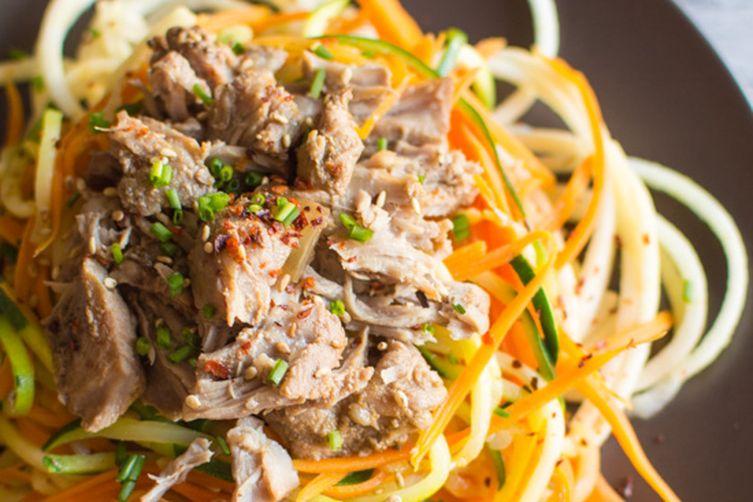 Asian Slow Cooker Pork with Vegetable & Apple Noodles