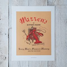 Vintage Menu Print: Warren's of Kittery, ME