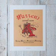 Vintage Menu Print: Warren's of Kittery, ME