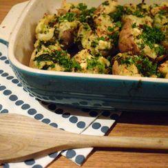 Twice Baked Potatoes with Kale, Feta and Leek