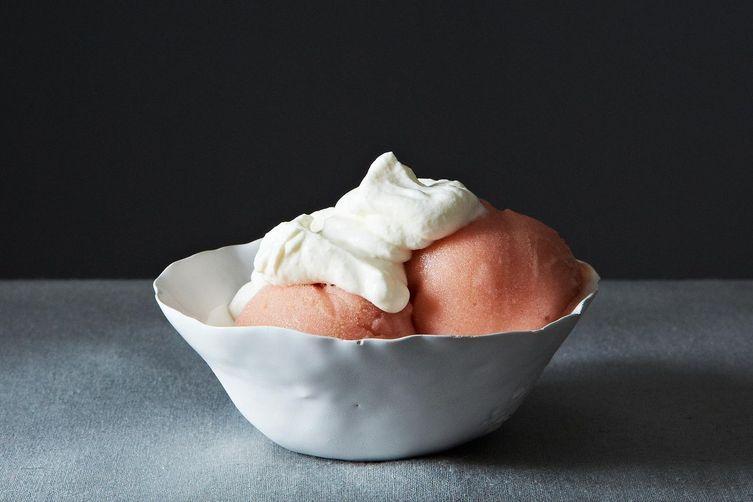 Rhubarb Gin Sorbet with Rose Cream