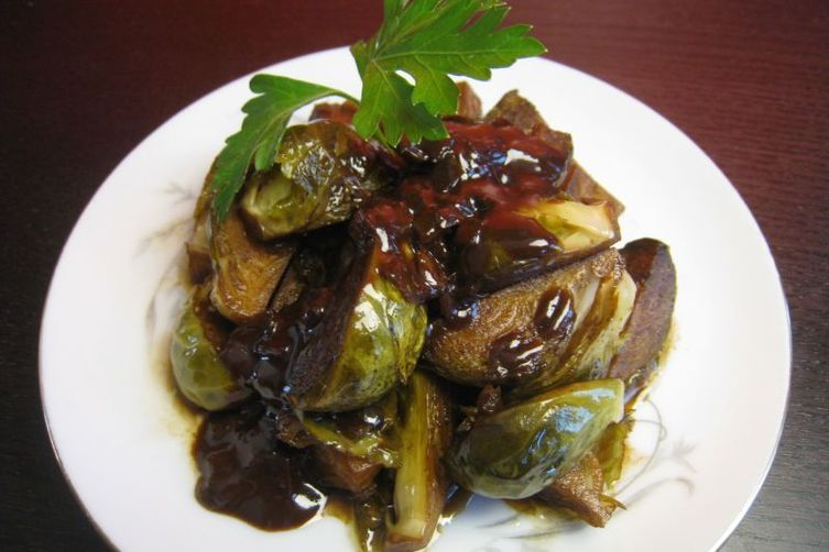 Marinated Brussels Sprouts with a Dark Chocolate Cayenne Sauce