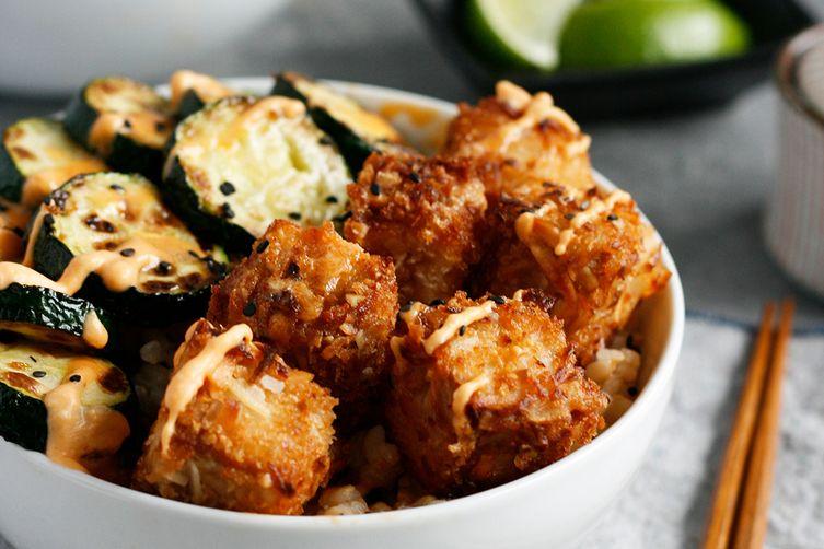 Coconut Crusted Tofu with Sweet Chili Sauce