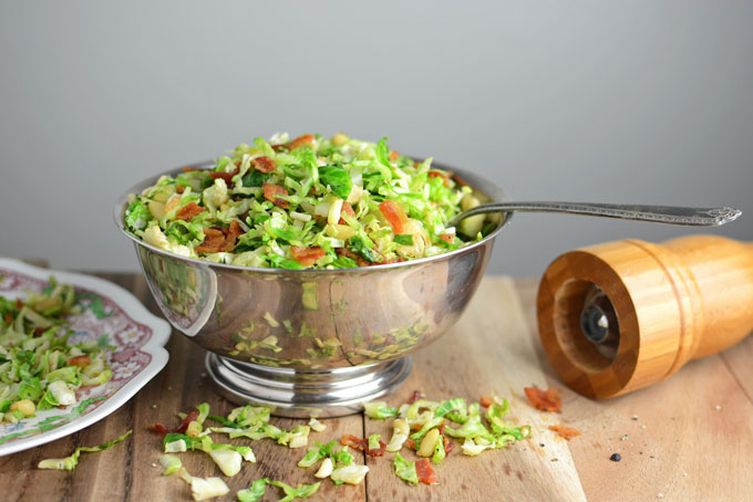 Shaved Brussels Sprouts w/ Bacon & Pine Nuts