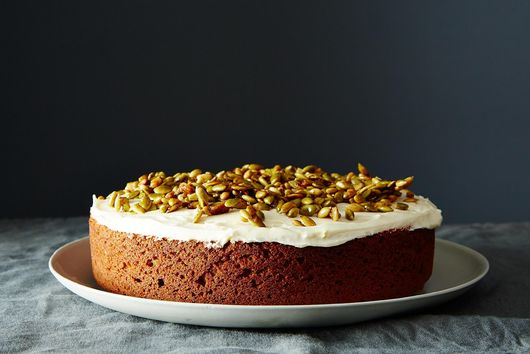 Pumpkin Cake With Cream Cheese Icing & Caramelized Pumpkin Seeds