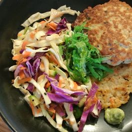 asian chicken patties with vegetable rice cakes