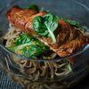 Hot Smoked Salmon, Soba and Asian Greens Salad