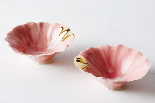 Gold-Dipped Pink Pinch Bowls (Set of 2)