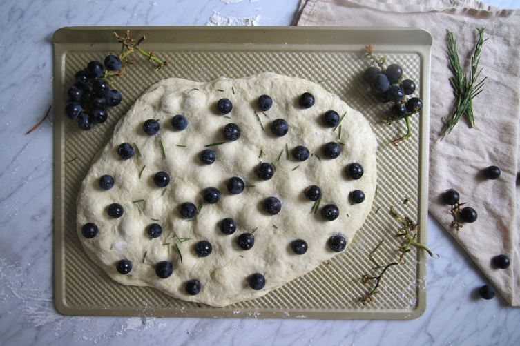 Concord Focaccia with Honey and Rosemary