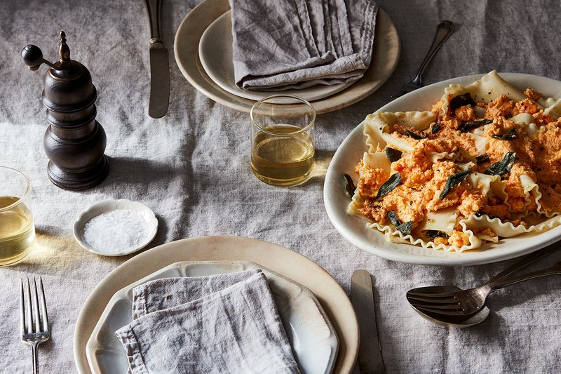 Sweet Potato, Goat Cheese and Sage Pasta Pile-up