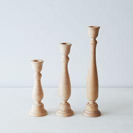 Wood Candlesticks (Set of 3)
